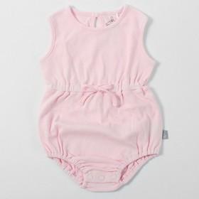 Viridityオーガニックコットン。ピンクカバーオールパッケージおなら服の女の子の教室 - ピンク