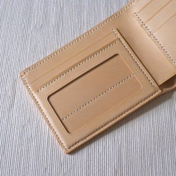 [H14] - [香港製】完全な手作りの革財布[野菜なめしの牛革] [フル手縫い] [無料の彫刻英語名]