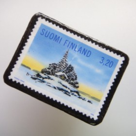 「再販」フィンランド クリスマス切手ブローチ2011