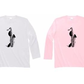 テナーサックスと黒猫の長袖Tシャツ