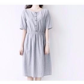 ★夏物SALE★【S】ストライプ半開きシンプルな半袖ワンピース