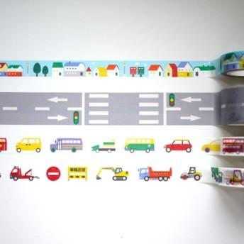 4グループにロードシリーズ紙テープ:小さな道路+車+車+特別な小さな家の通り