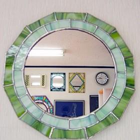 ステンドグラスの鏡 グラスグリーン