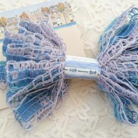 ちょこっと毛糸♪ トルコ製 フリルテープ 平たい毛糸 水色