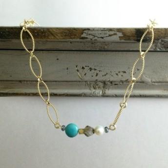 天然石×淡水パールのネックレス (ターコイズ)