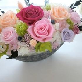 【プリザーブドフラワーギフト】父の日、両親贈呈 開店祝い退職祝いにシルバーグレーの豪華な花器に
