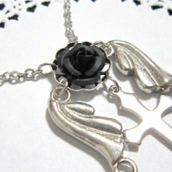 薔薇と十字架の天使ネックレス 黒薔薇(ブラックローズ)