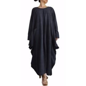 ジョムトン手織り綿のマルチドレープゆったりドレス 墨黒(DFS-046-01)