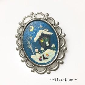 「再販」手描きブローチ(冬)☆猫のロミオとジュリエット☆クリスマス編
