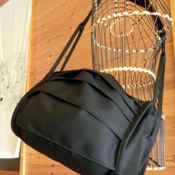 swell-p 帆布ショルダーバッグ 黒×茶