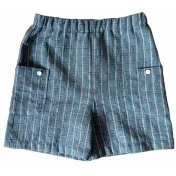 ボーイグリーンチェック柄の膝丈パンツ - 日本の綿印刷物 - 手作り限定版の子供服