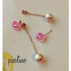 小さなお花 コットンパール ピアス Pink