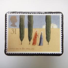 イギリス クリスマス切手ブローチ1664