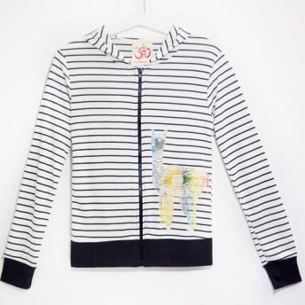 ペルーアルパカ/ラマの友人 - 女性はフード付きのストライプの綿のジャケット/薄いコート/ストライプのジャケットを感じます