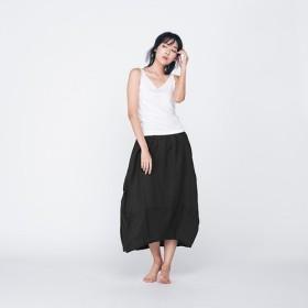 コットンラウンドスカート - ブラック