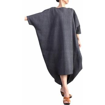 ジョムトン手織り綿のムササビドレス 墨黒(DNN-092-01)
