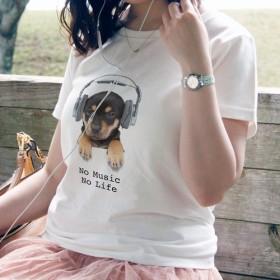送料無料☆【ドライTシャツ】子犬だってNo Music No Life