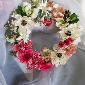 花のクリスマスリース