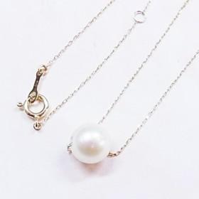 K10イエローゴールドのアコヤ真珠の1粒パールネックレス