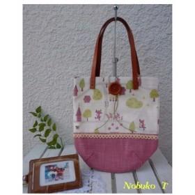 キュートな動物プリントのコットン布製ミニバッグ(ピンク)