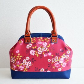 ≪一点モノ≫ Doctors bag - 本革持ち手ハンドバッグ -フランス製花柄〔299〕