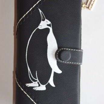 ペンギン財布、黒、手帳型財布、収納力抜群のお財布!