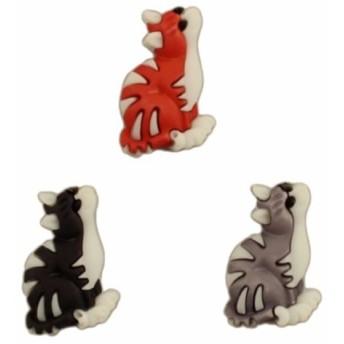 ボタンガローア ボタン3個セット-トラ猫 キャット