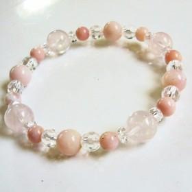 ピンクオパール 10月誕生石 ローズクォーツ パワーストーンブレスレット 恋愛運 天然石・レディース