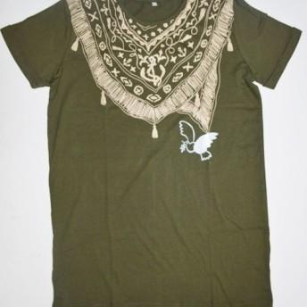 小鳥Tシャツ 綿100% バンダナ付きデザインのTシャツ、ラウンドネック