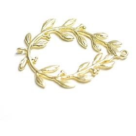 再販【1個】繊細なディテールのオリーブの枝しずく形ゴールドコネクター、チャーム