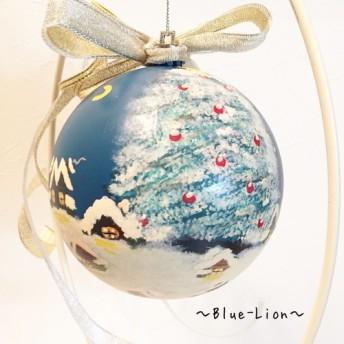 手描き9cmペイントクリスマスオーナメントボール(小さなまち)*ホルダー&スワロスキー&蓄光付き*