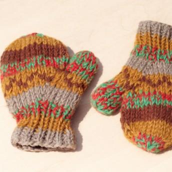 東欧をブレンド砂漠の色相 - 子供/子供の手袋/毛手袋/ニット手袋/ミトンのためのニットピュアウール暖かい手袋/手袋限ら
