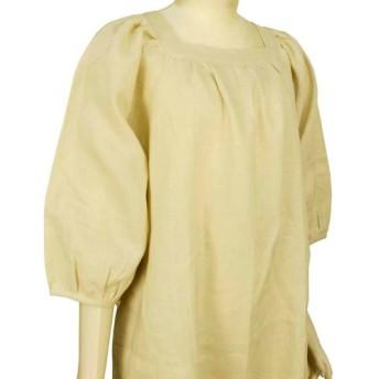 ポーリッシュリネン スクウェアネック ワンピース 七分袖 パフ袖 共布ベルトつき フリーサイズ 生成り