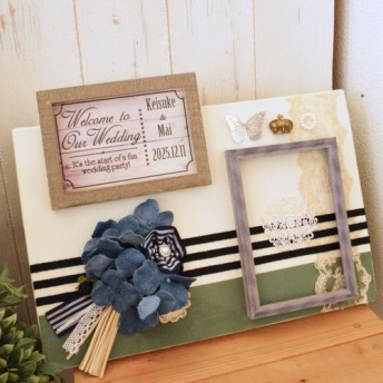 結婚式ウェルカムボード★「花言葉は家族の絆」デニムで作られたアジサイとキャンバスのウエルカムボード