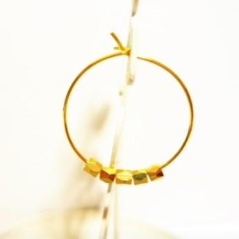 5連ゴールドメタルのシンプルなお品のリングピアスs