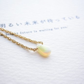 明るい未来が待っている ~opal 14kgf エチオピア産オパール 一粒ネックレス カード付き