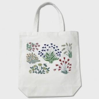 トートバッグ 白「シルエットflowerカラー」0835 帆布 布製 大人っぽく落ち着いた色合いの植物カラー 花柄