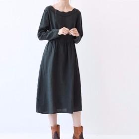 【S】刺繍入りゆったりシンプルな長袖ワンピース♪