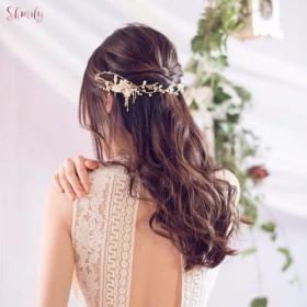 雨-アンティークゴールド真鍮、パールヘッドピースの結婚式の頭飾りのように自由奔放に生きます
