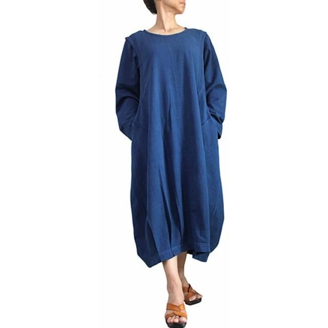ジョムトン手織り綿のゆったり袋ドレス インディゴ(DNN-078-03)