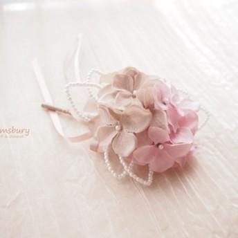 ハイドランジアのコサージュ ~pearl & mauve color