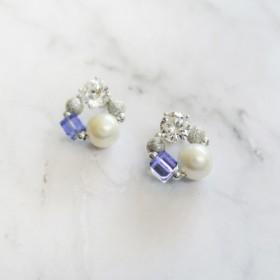 925真珠幾何正方形ジルコン結晶のイヤリング耳鍼(ラベンダー)