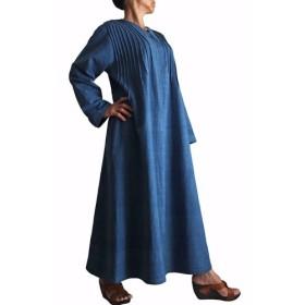 ジョムトン手織り綿の畝使いシンプルロングドレス インディゴ(DFS-041-03)