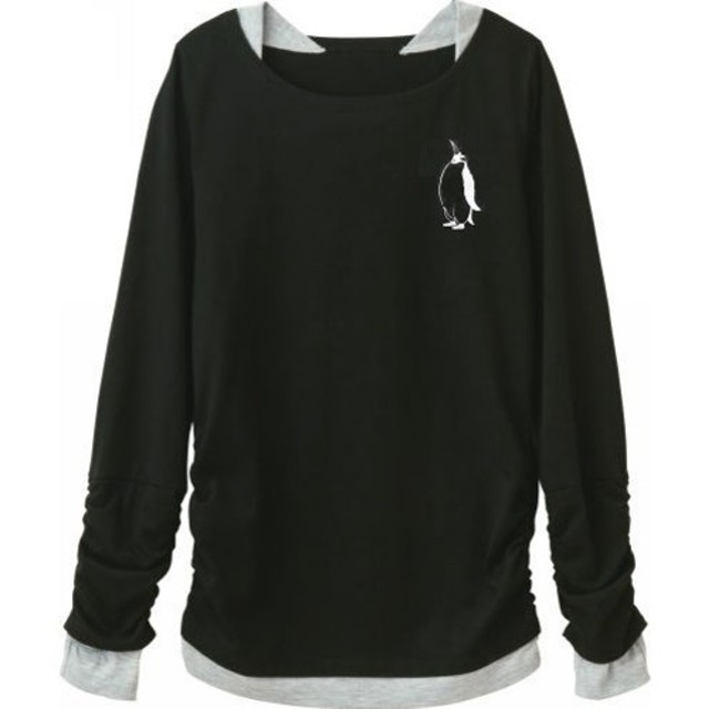 ペンギン UVカット レディースレイヤード長袖Tシャツ フィンガーホール付