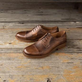 手作りハラコレザーバルモラルカジュアル子牛革靴 灰+茶 送料無料