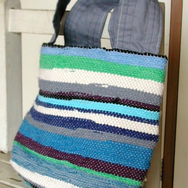 裂き織り青水色白黄緑ストライプバッグ