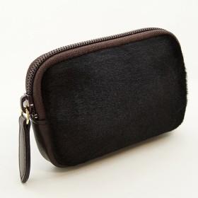高級本革 牛革 ハラコ 大人 の マルチポーチ 小さなお出かけバッグもすっきり整理 手のひらサイズ 小物入れ(黒豹)