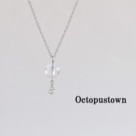 【4月の誕生石】 万能な力を発揮する 水晶と雫のネックレス(シルバーカラー)
