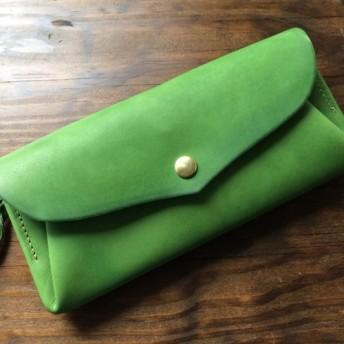 【受注製作(納期約1ヶ月)】イタリアンレザー*カード12枚長財布 「series-envelope」リーフグリーン