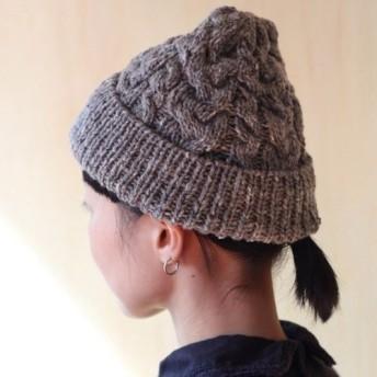 伝統柄アラン ケーブル模様のニット帽 英国製高級ツイード糸使用